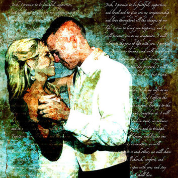 Custom Canvas Gift Shakespeare Song Lyrics Wedding Vows on Canvas 16x20