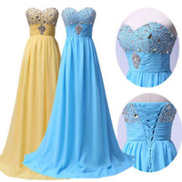 2015 Diamante Evening Party Prom Bridesmaid Long Dresses Masquerade PLUS SIZE