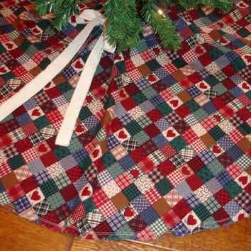 Country Christmas Tree Skirt Reversible by KaysGeneralStore
