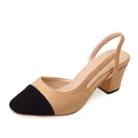 Black Nude Women's Shoes Thick Heel Round Toe Slingback Pumps Dress Shoes For Women Sexy Casual Buckle Strap Summer Dress Shoes