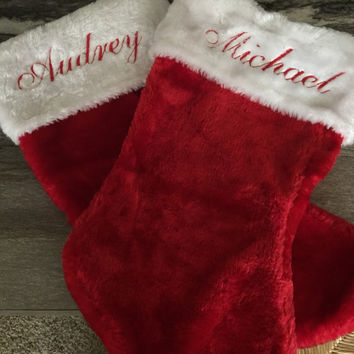 SALE extended! (Reg. 12.00) Personalized Christmas Stockings! Choose from 3 different fonts! Embroidered, Monogramming, Holiday Stockings