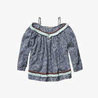Scotch R'Belle Girls Cropped Top with Fringes in Navy Print - 1551-03.53412