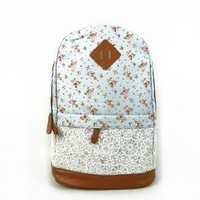 Hmxpls Cute Lace Vintage Countryside Flora School Student Backpack College Laptop Bags Rucksack for Young Women Teens Girls