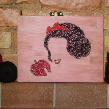Snow white wall decor, pink disney wall decoration, silhouette string art decor made out of wood