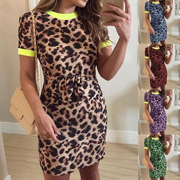 Plus-Size Leopard Print Knee Length Short Sleeve O-Neck Slim Fit Jumper Dress