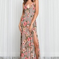 Fiona Floral Semi-Sheer Mesh Maxi Dress
