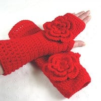 Stunning Crochet Rose Red Gloves Fingerless