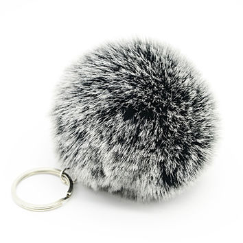 White Tip Fur Pom Pom Ball Keychain