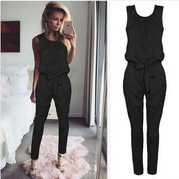 PEAP78W Sexy Sleeveless jumpsuit women long romper 2017 New summer women lady Fashion jumpsuit coveralls sexy female Black Bow jumpsuits