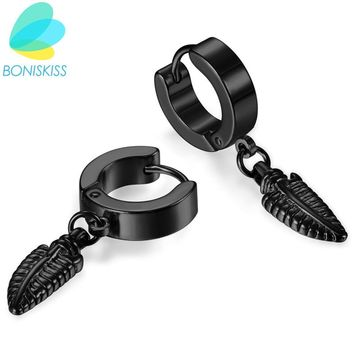 Boniskiss 316L Stainless Steel Man's Simple Hoop Earrings Body Piercing New Punk Earring Men Round Women Leaf Earrings Jewelry