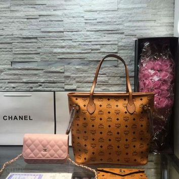 DCC3W Year-End Promotion 3 Pcs Of Bags Combination (MCM Bag ,Chanel Mid Bag ,MCM Wallet)