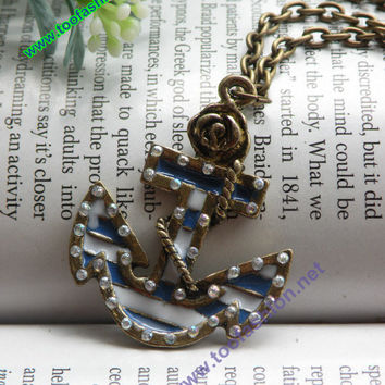 Pretty retro copper boat anchor with white by toofashion2010