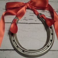 Lucky Holiday Horseshoe--Silver With Red Satin Ribbon