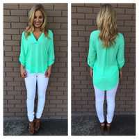 Pop Mint Natalie Blouse