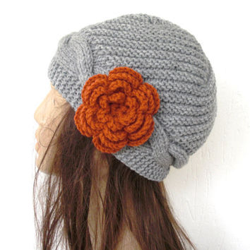 Hand knit hat - Cloche hat   in silver gray- Victorian  Hat burnt orange  flower - Winter Accessories-  womens hat-  fashion - Holiday  gift