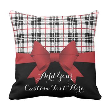 Red Black Tartan Plaid and Ribbon Girly Cute Kids Throw Pillow