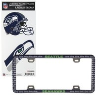Seattle Seahawks Thin Rim License Plate Frame with Decals