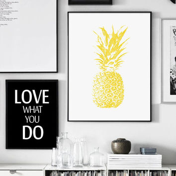 Yellow Pineapple Print, Pineapple Print, Tropical Print, Yellow, Printable Art, Yellow And White, Scandinavian Style, Affiche Geometrique
