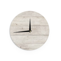 "Susan Sanders ""White Wash Wood"" Beige White Wall Clock"