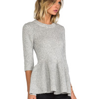 10 CROSBY DEREK LAM Metallic Peplum Sweater in Grey