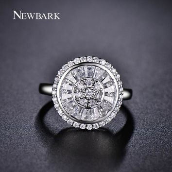 NEWBARK Super Quality Wedding Rings for Women Elegance Channel Setting Round 15.5mm Clear Crystal Shiny Flower Finger Ring