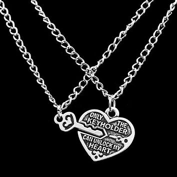 Bluelans 2017 Presell 1 Pair Love Heart Key Pendant Necklace Best Friends Lovers Couple Jewelry Charm