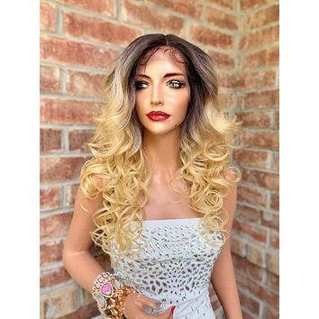 Ombre' Blond Lace Hair Wig | Middle Parting | Lynn 0519