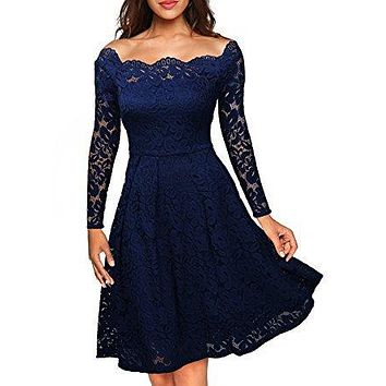 Temperament Elegant Off Shoulder Long Sleeve Solid Color Hollow Lace Ruffle Mini Dress