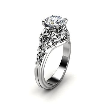 Unique Engagement Ring Moissanite Engagement Ring 14K White Gold Ring Art Deco Ring
