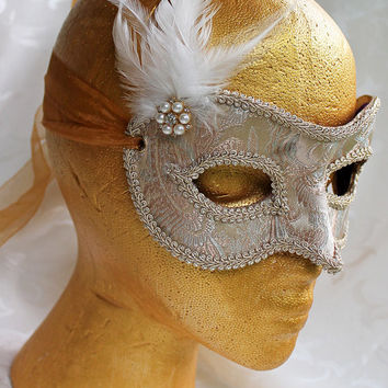 Champagne Brocade and Leather Eye Masquerade Mask