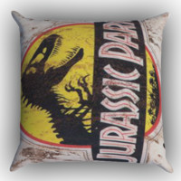 Jurassic Park Jeep License Plate 12 Zippered Pillows  Covers 16x16, 18x18, 20x20 Inches