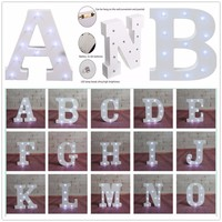 ALPHABET LETTER LIGHTS LED LIGHT UP WHITE WOODEN LETTERS STANDING HANGING