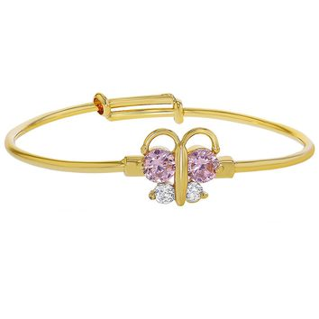 18k Gold Plated Pink Clear Crystal Adjustable Butterfly Girls Baby Bangle Bracelet