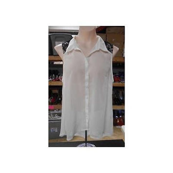 Juniors Sleeveless Button Down Hi Lo Blouse, Ivory, Large Derek Heart