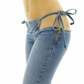 Skinny Jeans Woman 2016 Sexy Clubwear Super Low Waist Beading Flare Denim Pants Trousers Special Design jeans feminino