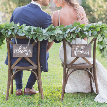 Wedding Chair Signs – custom hand lettered wedding chair signs – hand painted wedding signage