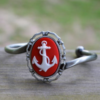 Anchor Bracelet You Pick the Color by cynicalredhead on Etsy