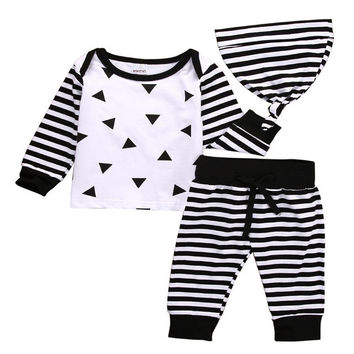 Autumn Baby Clothing 3PCS Set Newborn Toddler Kids Baby Boy Girls Outfits Cotton Clothes T-shirt +Striped Pants+Hat Baby Set
