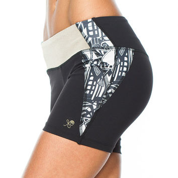 SALE - Black Moon Balance Shorts, Colorblock Short, Hot Yoga Shorts, Cycling Shorts, Black White Print, Fitness Apparel, B011