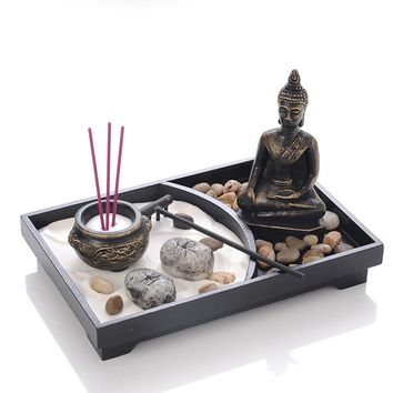 Buddha Statue Zen Garden Sand Meditation Peaceful Relax Decor Set Spiritual Zen Garden Sand Tray Kit Buddha Incense Burner