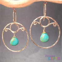 "Hammered circles with blue turquoise, 2"" Earring Gold Or Silver"