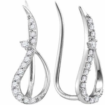 10kt White Gold Women's Round Diamond Climber Earrings 1-5 Cttw - FREE Shipping (US/CAN)