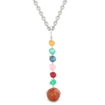 Chakra Wish Bead Amulet Faceted Carnelian Colorful Gemstones Lucky Charm Pendant 18 Inch Necklace
