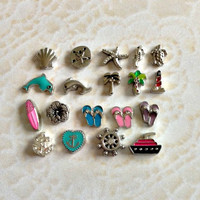 Beach and Ocean floating charms for memory lockets