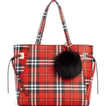 Lizzy Plaid-Print Pom Tote at Guess