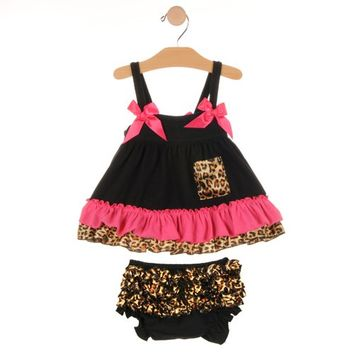 Baby Girls Outfits, Leopard Swing Top / Bloomer 2 pc Set
