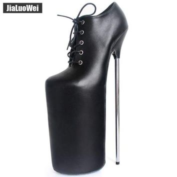 jialuowei New 30CM Super High Metal Thin Heel Platform Lace-up Leather Women Sexy Fetish Nightclub Funny Shoes Ladies Boots Macchar Cosplay Catalogue