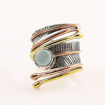 Larimar Three Tone Sterling Silver Adjustable Wrap Ring