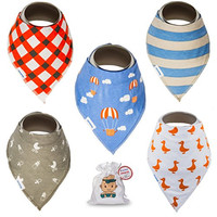 Baby Bandana Drool Bibs With Snaps For Boys and Girls - Super Absorbent, Soft and Modern - Best Baby Shower Gift From Tiny Captain (Orange)