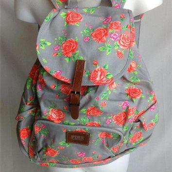 NEW VICTORIA'S SECRET PINK GRAY FLORAL NEON ROSE FLOWERS CANVAS BACKPACK BOOKBAG